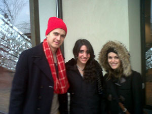 Hayden Christensen and Rachel Bilson with fans at the Mall in Toronto.