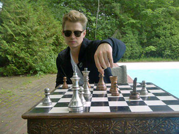 Hayden Christensen playing chess (Summer 2011).