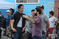 Adrien Brody and Director Sarik Andreasyan on the set of American Heist.