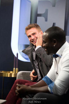 Hayden Christensen and Akon visit ET Canada's TIFF Lounge before their American Heist Premiere at the festival.