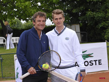 Hayden Christensen with Mats Wilander during the 2009 French Open in Paris.