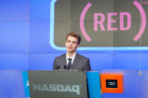 Hayden Christensen  pictured talking about The Lazarus Effect just before the NASDAQ Opening Bell, May 6, 2010.