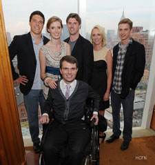 Will Reeve, Alexandra Reeve Givens, Francesco Clark, Matthew Reeve, Linda Wells and Hayden Christensen hosts for the Reeve Champion Summer Party.