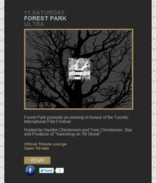 Hayden Christensen and Tove Christensen host Forest Park event for Toronto Film Festival.