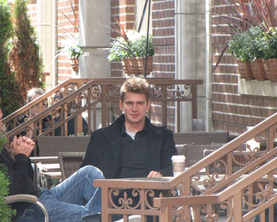 Hayden Christensen takes a coffee break at the 2010 Toronto Film Festival.