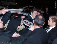 Hayden Christensen signs autographs outside the Hugo Boss 2011 Fashion Show.