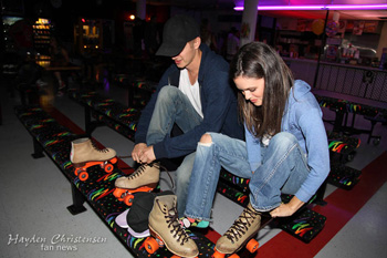 Hayden Christensen and Rachel Bilson attend Johnny Wujek's birthday skate party.