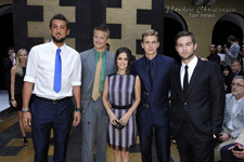 Hayden Christensen, Rachel Bilson, Alexander Ludwig, Chace Crawford and Marco Belinelli at Versace Menswear Fashion Show at Milan Fashion Week 2012.