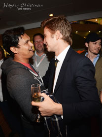 Hayden Christensen says hello to old friend Adam Beach at the launch of Glacier Films in Cannes.