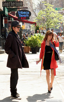 Hayden Christensen and Rachel Bilson film a scene in Tribeca