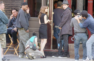 Hayden Christensen and Rachel Bilson and Andy Garcia on the set at Walker's Bar in Tribeca