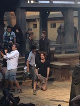 Hayden Christensen prepares for a scene on Outcast in Hebei.