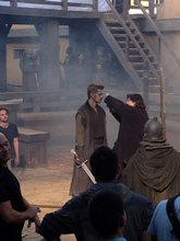 Hayden Christensen gets make-up and hair touch-up before a scene for Outcast.