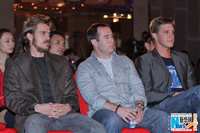 Hayden Christensen, Nick Powell and Tove Christensen in the audience at Official launch of Outcast in Beijing.