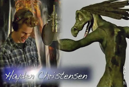 Hayden Christensen in the sound studio for the animated film Quantum Quest A Cassini Space Odyssey.