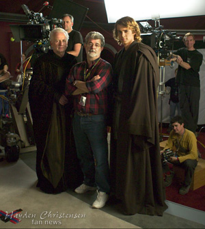 On the set of Revenge of the Sith with Ian McDiarmid, George Lucas and Hayden Christensen