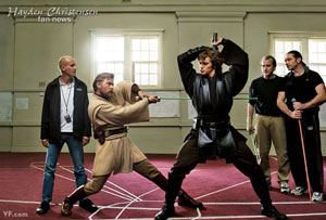 Hayden Christensen, Ewan McGregor, Nick Gillard, Star Wars prequels sword training.