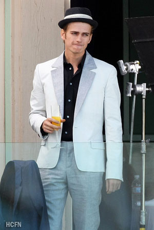 Hayden Christensen on the set of Takers