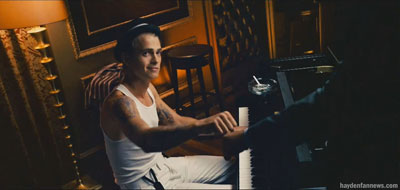 Hayden Christensen at the piano in the movie Takers
