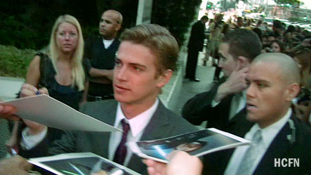 Hayden Christensen with fans at the Takers Premiere in Los Angeles.