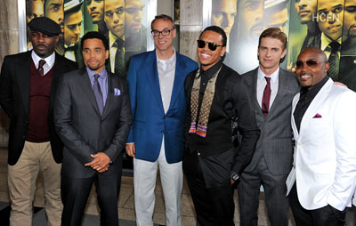 Hayden Christensen pictured with Takers cast and director John Luessenhop.