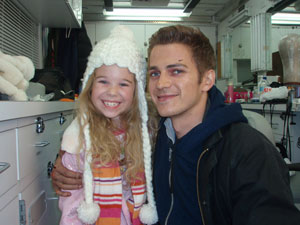 Hayden Christensen and Taylor Groothuis on the set of Vanishing on 7th Street.