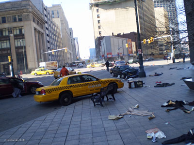 A deserted Detroit city street is prepared for a scene from Vanishing on 7th Street starring Hayden Christensen.